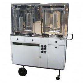 Carrinho de churrasco grego 2 espetos automáticos - Alsa